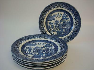 Broadhurst Staffordshire Ironstone Blue & White Willow 6 X Tea / Side Plates