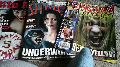 Six horror magazines, Bite Me, Shiver and Fangoria, mixed bundle