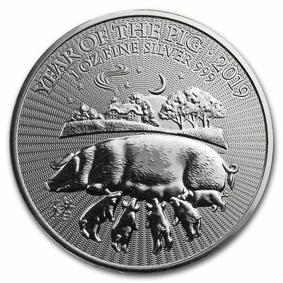 1 oz argent YEAR OF PIG 2019 année cochon ROYAUME-UNI once ANGLETERRE 2£ pound 1