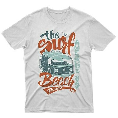 Fm10 Camiseta Surfing Playa Furgoneta Hippie Tabla de Surf Uellas Mar Regalo