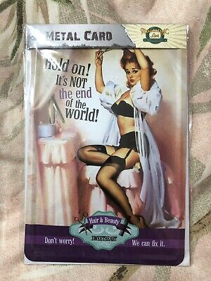 """Retro 50s Pin up Girl Tin Sign Bar Pub Darts  /"""" One In One Out /"""" metal plaque"""