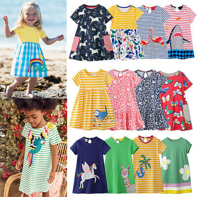 aa111e5e9 Mini Girls Summer Striped Dress Boden Casual Party Sundress Clothes Age 1-12