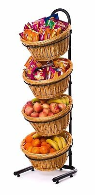 4 Tier Display Stand with Wicker Baskets - NOW ON SALE!