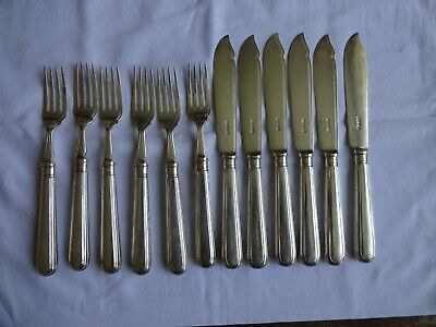 Art Deco Silver Plated Fish Forks & Knives Goldsmiths & Silversmiths London