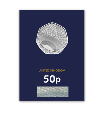 STEPHEN HAWKING 50p Pence Coin UNCIRCULATED MINT ON CARD In hand Ready to Post
