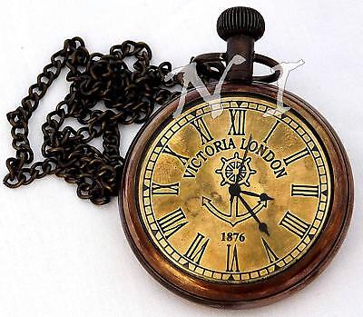Vintage Victoria London Antique Brass Pocket Watch Nautical Clock W Long Chain