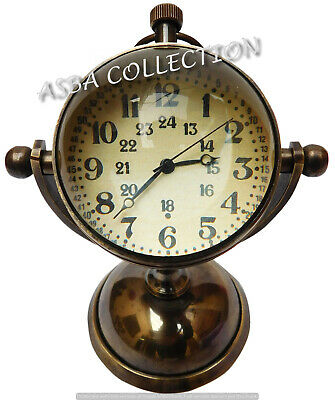 Maritime Brass Desk Clock Vintage Brass Antique Nautical Watch Collectible Gift