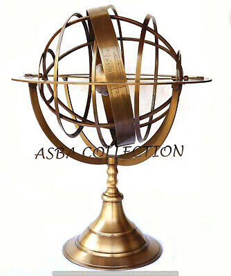 Antique Brass Armillary Sphere Engraved Nautical Astrolabe World Globe Large 18""