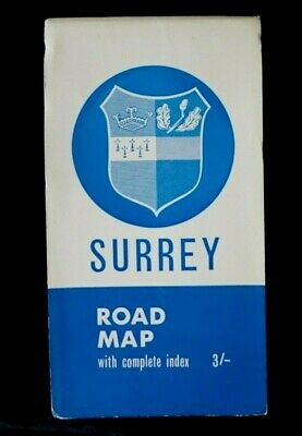 1960's SURREY ROAD MAP & Index Geographers Map Co. Ltd.(Paper) 4 Miles to 1 Inch