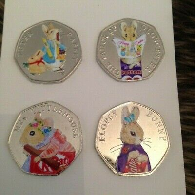 New And Exclusive Unc 2018 Easter Coloured Peter Rabbit 50P Coin Set Of 4!