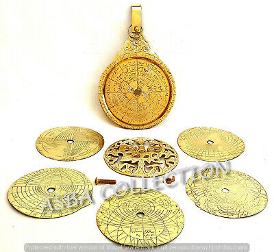 "5"" Shiny Brass Astrolabe Arabic Calendar Marine Navigation Astrological Globe"