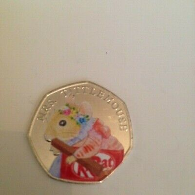 New Uncirculated 2018 Easter Coloured Mrs Tittle-Mouse 50P Coin