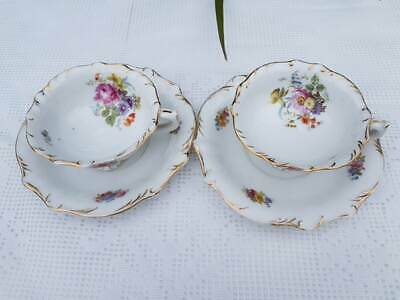 Antique European porcelain hand painted floral pattern footed cups & saucers