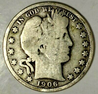 1906-D 50C Barber Half Dollar, 19hcr0313 90% Silver, 50 Cents Shipping