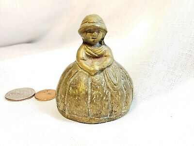 Vintage brass heavy Bell Victorian chubby  Lady with older knocker great patina