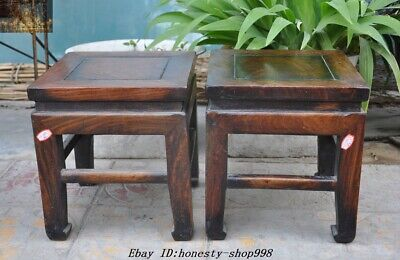 "12"" Old Chinese Huanghuali Wood Carved Bonsai potted plants flower pot Base Pair"