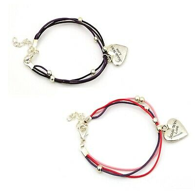 Thin Real leather Bracelet Silver Plated Beads Made with Love charm