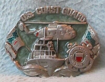 VINTAGE 1982 BERGAMOT BRASS U.S. COAST GUARD BELT BUCKLE As Is Condition