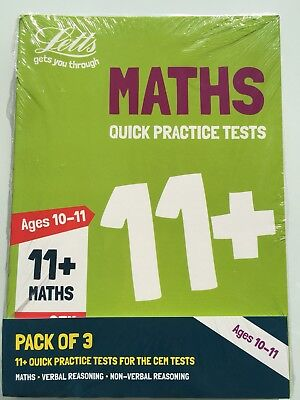 Letts 11+ Quick Practice Tests 10-11 years 3 Books Maths, Verbal, Non-Verbal CEM