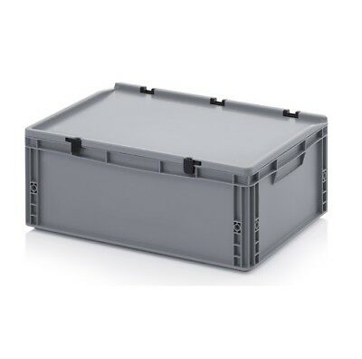 Transport Containers 60x40x23, 5 with Lid Plastic Transport Case Box 600x400x235