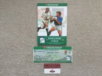England v Italy Rugby Six Nations Championship 2001 Programme Ticket & Pass