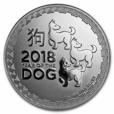 1 once oz argent BU 2$ nouvelle-zélande 2018 YEAR OF THE DOG 3 chiens NIUE P1€