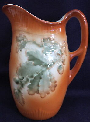 Art Nouveau ceramic pitcher with oak leaves c.1910, Made in Germany