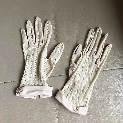 Evening Gloves Vintage Retro 1950s 1960s Nude Nylon Occasion Bridal Wedding