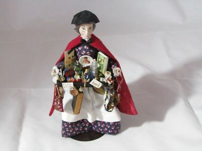 Artisan Handcrafted Dollhouse Miniature Woman Peddler Loaded With Fine Ladies It