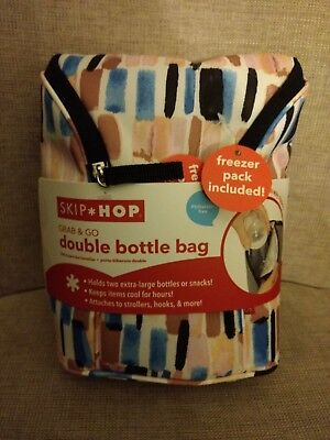 Skip Hop Grab and Go Double Bottle Bag - Limited Edition - Brush Stroke