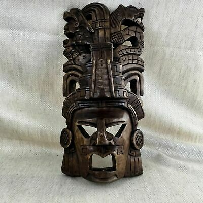 Vintage Carved Wooden Wall Mask South American Mayan Aztec God Warrior Deity