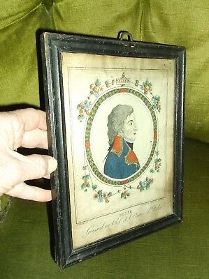 Rare Antique 19C Hand Coloured Engraving Portrait French General Brune 1763-1815