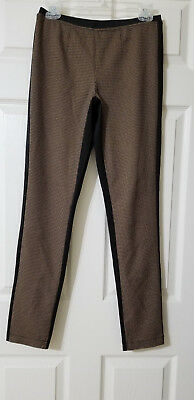 PHILOSOPHY REPUBLIC CLOTHING Brown Checks/Black Stretch Knit Pull On Pants Sz.S