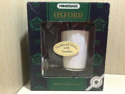 NEW Homebase Toothbrush Holder with Tumbler Oxford Style Gold and Chrome Boxed