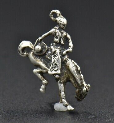 Sterling Silver 3D 14x12mm Horse Rodeo Rope Lasso Tack Charm!