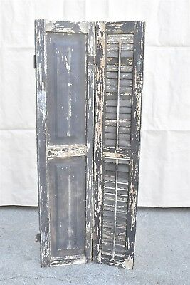 Antique 1880s SOLID WOOD PANELED & LOUVERED BIFOLD SHUTTER w HINGE & LOCK #06406