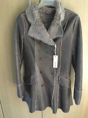 BNWT Girl's DIESEL Brown shimmer faux fur lined coat size XL-age 11-12-13 Years
