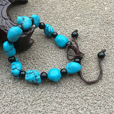 Exquisite BEAUTIFUL CHINESE OLD TURQUOISE WOVEN LUCKY PRAY BRACELET C36
