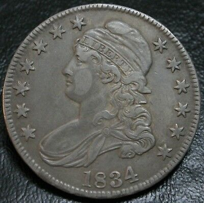 1834 50C Capped Bust Half Dollar Lg Date Sm Letters O-107 XF/AU