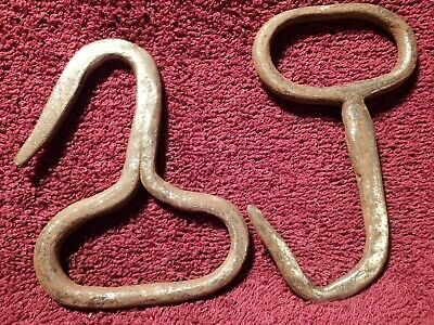 Vintage Antique Pair Of Handforged Boot Hooks European