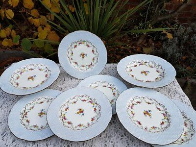 8 x Art Deco Wedgwood floral plates & comports