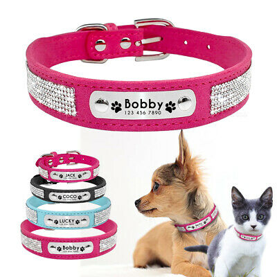 Personalised Dog Collar Engraved Bling Rhinestone Soft Suede for Pet Puppy Cat
