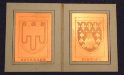 Two Vintage Armorial Of Auvergne & Brioude France Copper Plates Perfect Gift