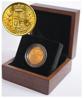 1864 Queen Victoria Shield Reverse Sovereign + Capsulated within Luxury Case