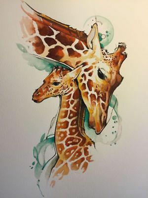 Watercolour Giraffes Mother and Baby Canvas Print - A0, A1,