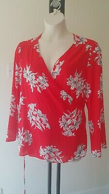 c5dab3fb2fde Ladies George WRAP TOP size 24 Red floaty BLOUSE holiday summer FREE P&P