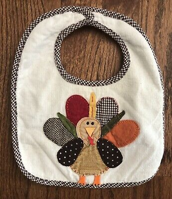 Mud Pie Baby Bib Appliqué Turkey Thanksgiving Cord Sherpa Brown Gingham