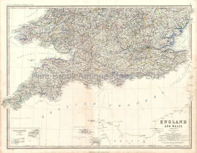 England Wales South Antique Map Original British Decor Gift Idea Johnston 1864