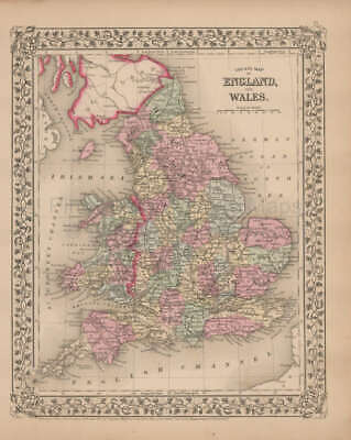 England Wales Antique Map Mitchell 1868 Original