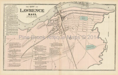 South Lawrence Massachusetts Antique Map Beers 1872 Original Essex County Gift